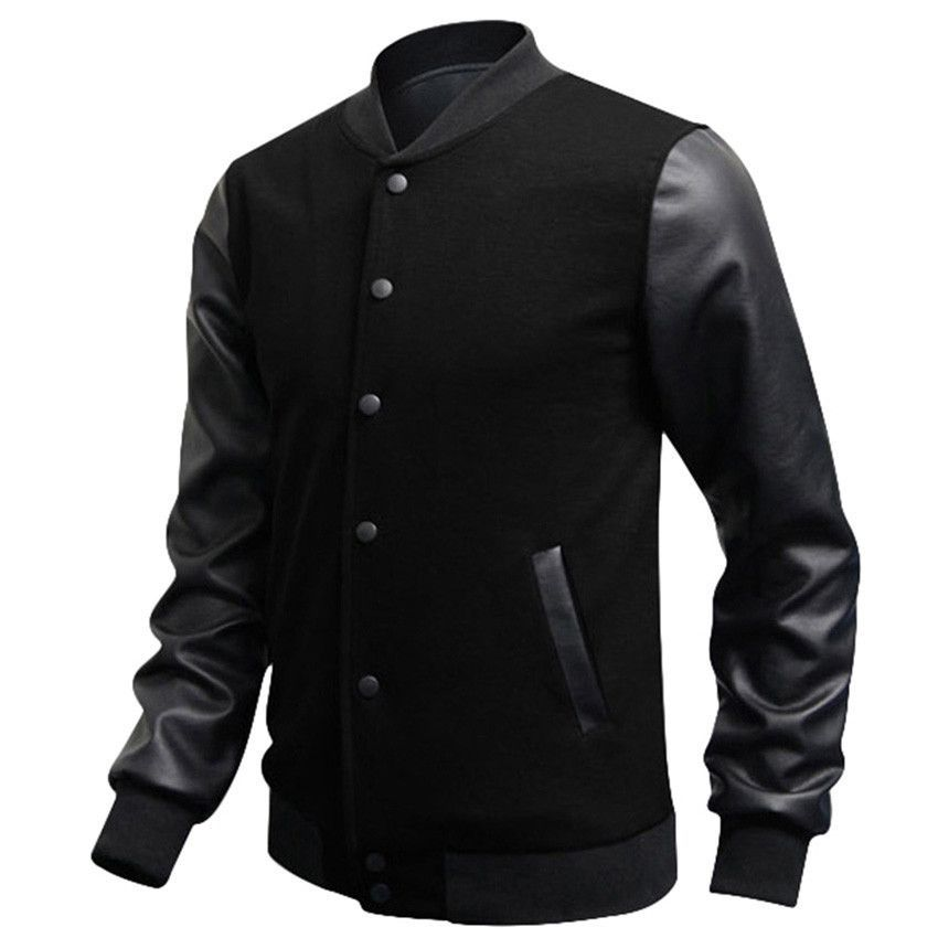 Slim Fit Fashion Casual Mens Coat Baseball Jackets PU Leather ...