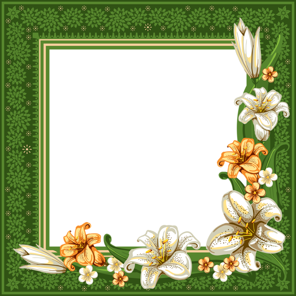 green transparent frame with flowers