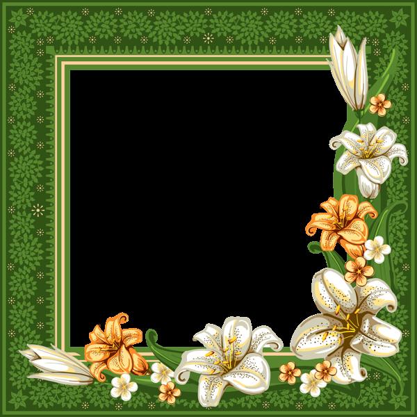 Green Transparent Frame with Flowers Flower frame