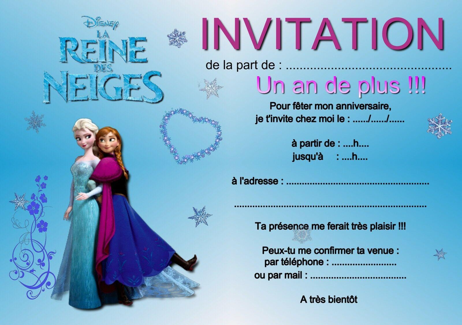 Carte D'invitation Anniversaire La Reine Des Neiges Gratu… | Reine des neiges anniversaire ...