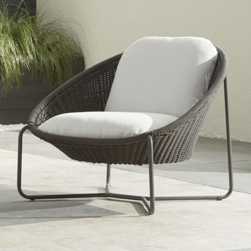morocco charcoal oval lounge chair with cushion | outdoor lounge