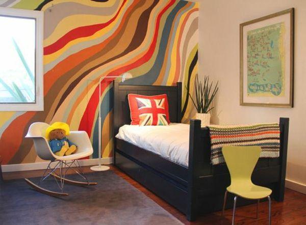 bunte wand gestaltung im jugendzimmer - 62 kreative Wände ...