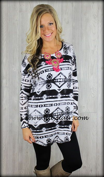 Piko aztec top in black and white: Filly Flair