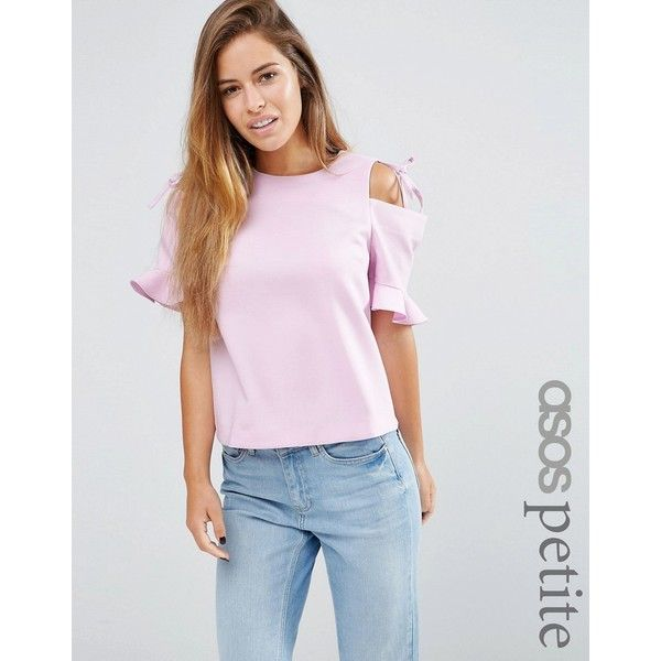 ASOS PETITE Clean Crepe Cold Shoulder Top With Tie And Ruffle Sleeve ($52) ❤