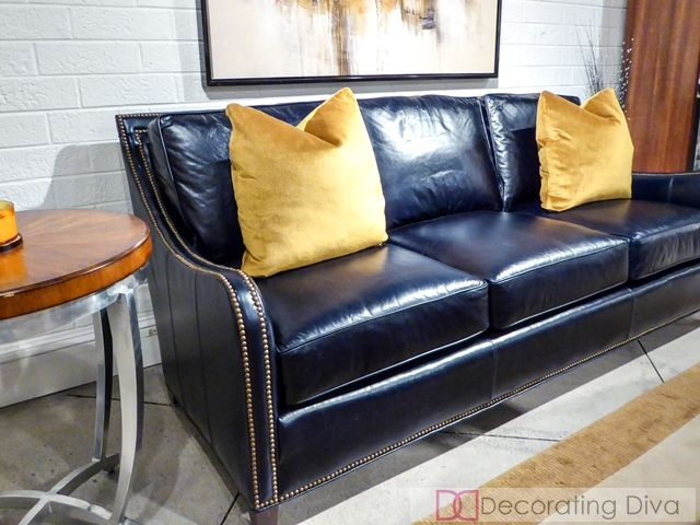 High End Leather Sofa With Nailheads Google Search Blue Leather Sofa Sofa Design Leather Sofa Set