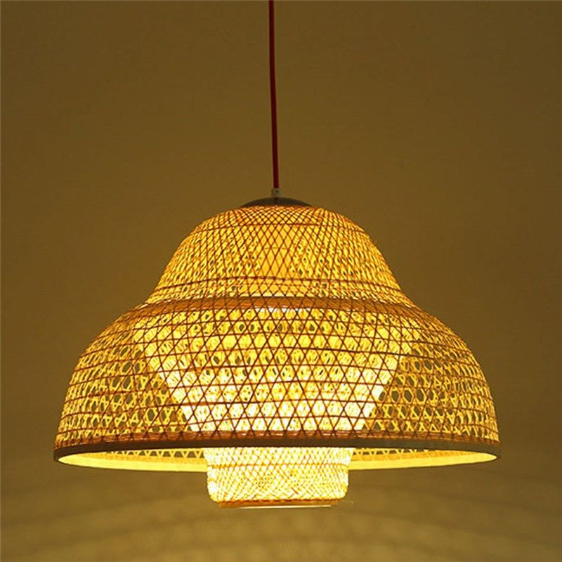 Hat Shape Pendant Light Modern Bamboo Woven Pendant Light Living