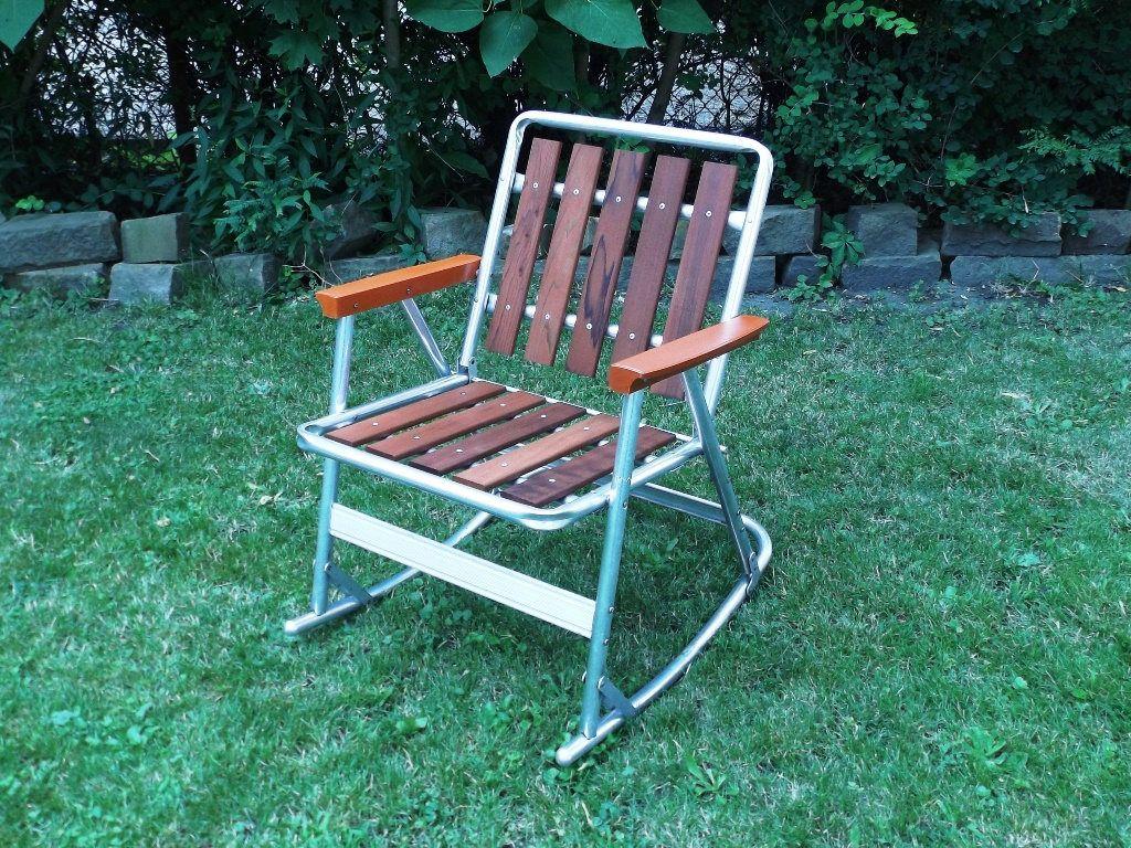 Peachy Vintage 70S Cedar Slat Aluminum Rocking Lawn Chair Folding Machost Co Dining Chair Design Ideas Machostcouk