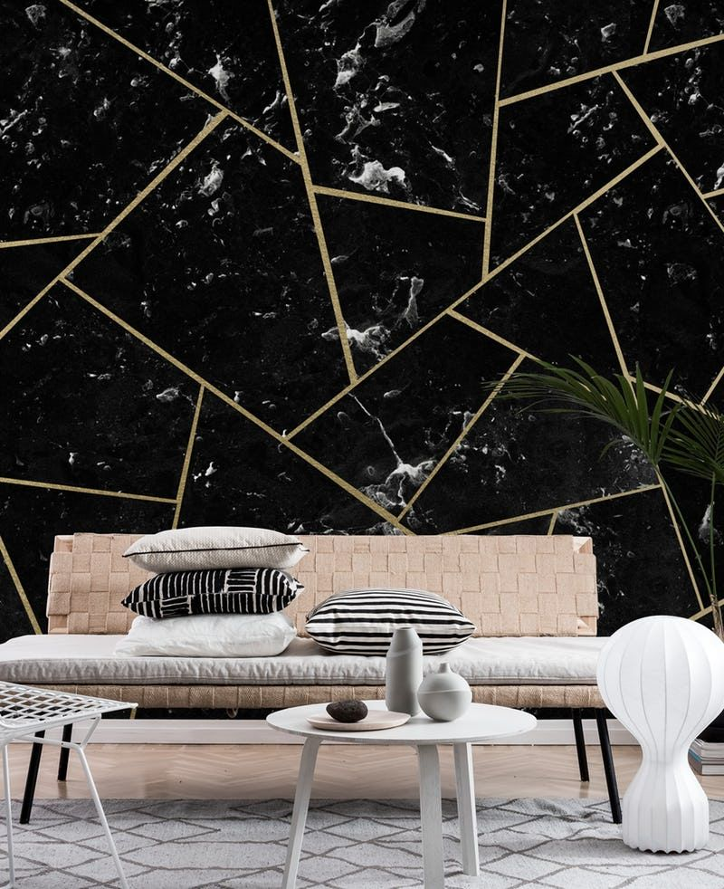 Black Marble Gold Geometric 1 Wallpaper From Happywall Com