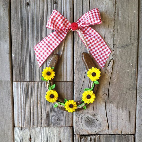 A country themed horseshoe!   Double click for more details! https://www.etsy.com/listing/237777192/decorated-horseshoes-horse-shoes-with