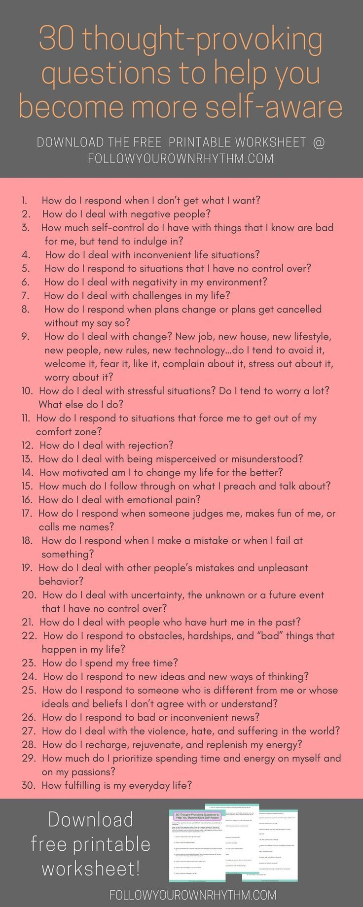30 Thought Provoking Questions To Become More Self Aware Follow Your Own Rhythm Self Thoughts Self Improvement