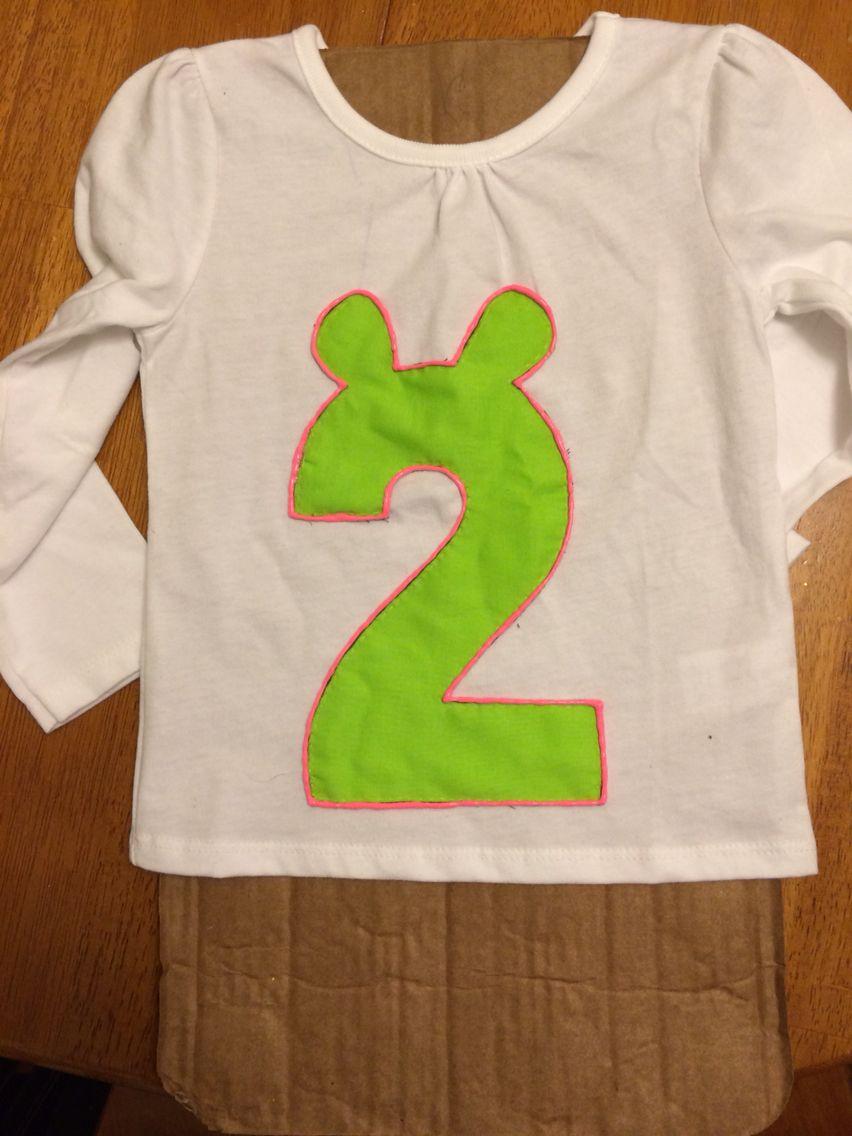 5c3641415 Hot Pink Paint to finish off this girly Shrek inspired Birthday Shirt :)
