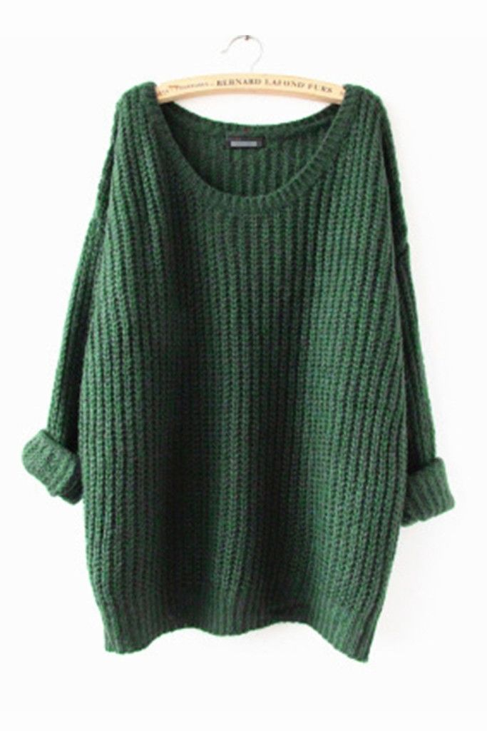 0a8d46b3f7 Vintage Green Knit Long Sweater