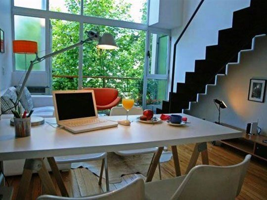 How to convert the dining table into a desk workspace for Dining room into office