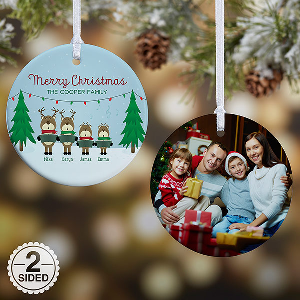 Christmas Ornaments Personalized.Personalized Reindeer Family Christmas Photo Ornament