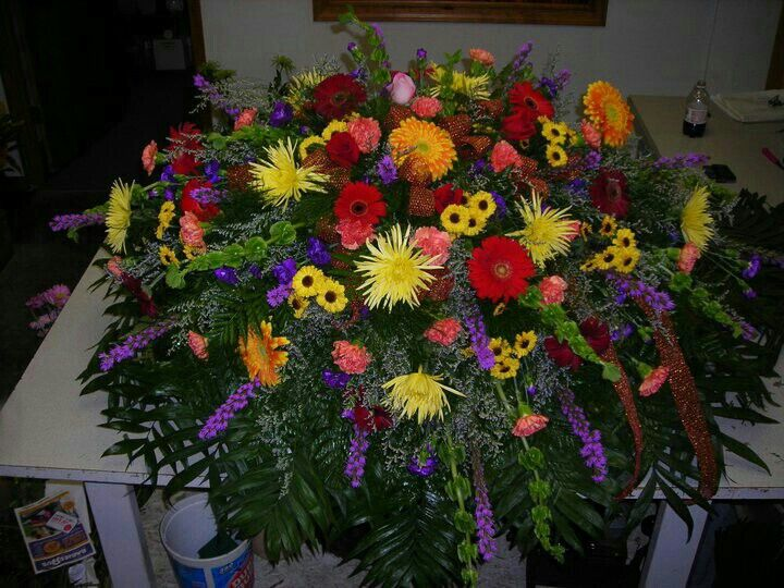 Mixed Color Spray With Images Casket Sprays Funeral Arrangements Funeral Caskets
