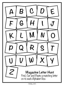 Freebie Magazine Letter Hunt Worksheets Literacy Center  AbcS