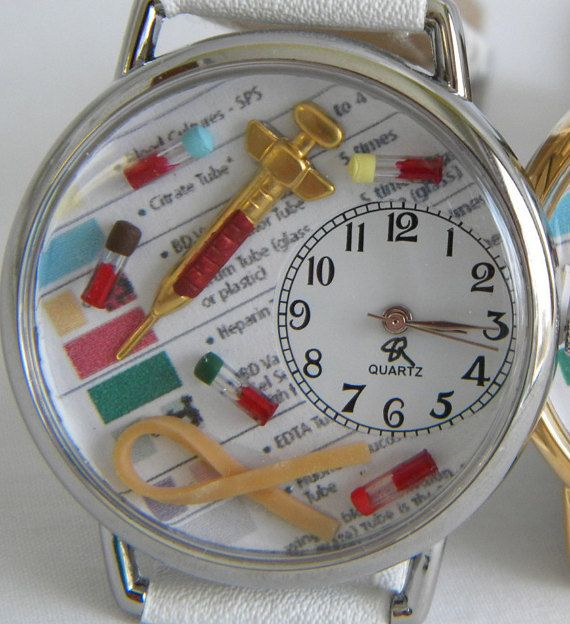Phlebotomy Phlebotomists Watch With Syringe Tiny Vials And