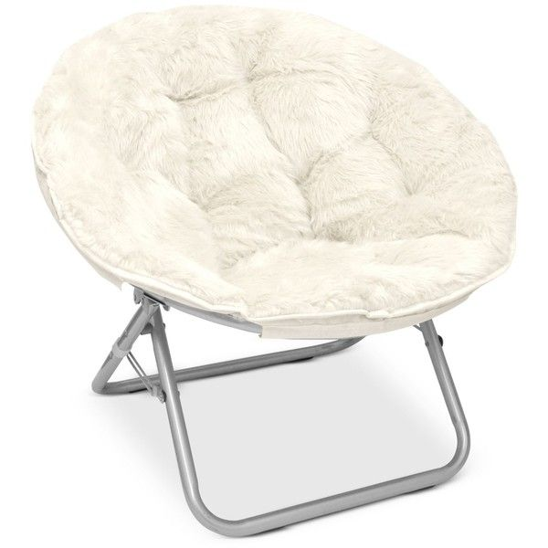 Arron Adult Faux Fur Saucer Chair ($99) ❤ liked on Polyvore featuring home, furniture, chairs, white, white furniture, plush chair, round folding chair, circular chair and faux fur chair