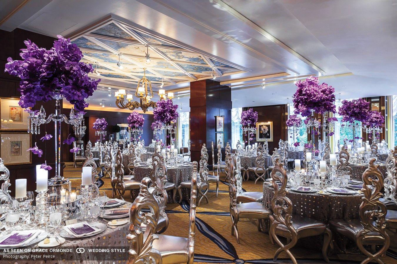 25th wedding decoration ideas  luxurious purple and silver wedding reception table decor idea  My