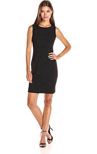 Calvin Klein Women S Scuba Crepe Starburst Sheath Dress Black 8