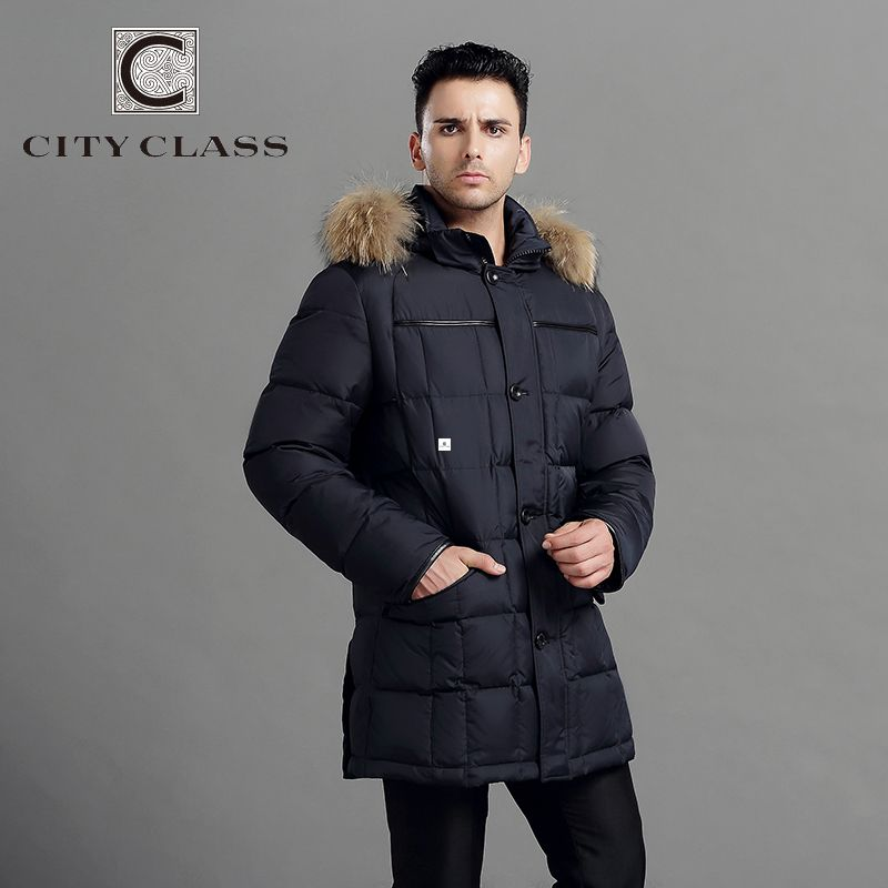 CITY CLASS Mens Winter Thick Warm Down Jacket True Raccoon Fur ...