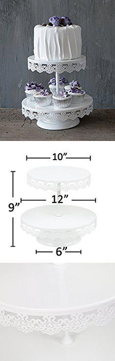 VILAVITA 3-tier Cupcake Stand Round Dessert Tower Iron Cupcake Holder Display Cake Stand for Wedding Birthday Party Celebration White