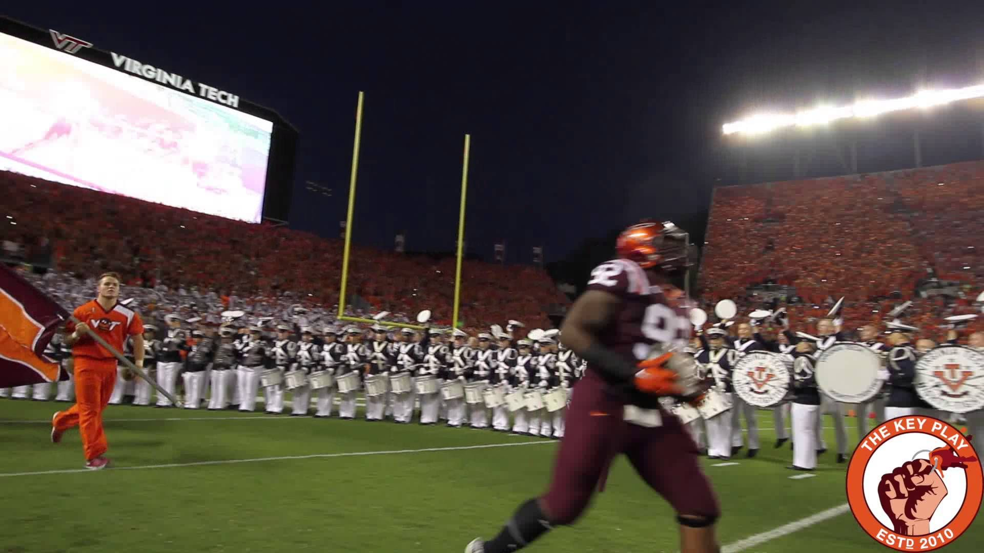 The Virginia Tech Hokies enter Lane Stadium to Enter