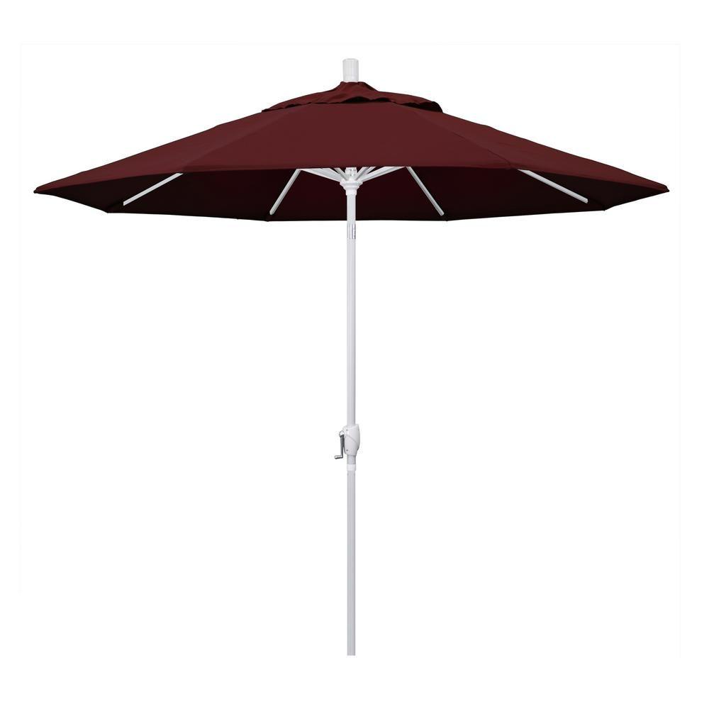 California Umbrella 9 Ft Matted White Aluminum Market Patio