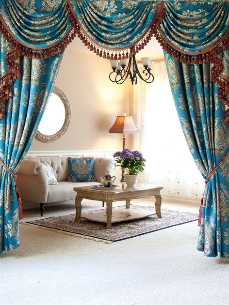 Blue Lantern Brocade Swag Valance Curtain Set The Dream Combo Of Turquoise And Gold Makes