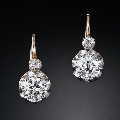 Pair Of Antique Diamond Earrings From The Turn Century These Feature Both An Old European And Mine Cut Set In Platinum Over 18