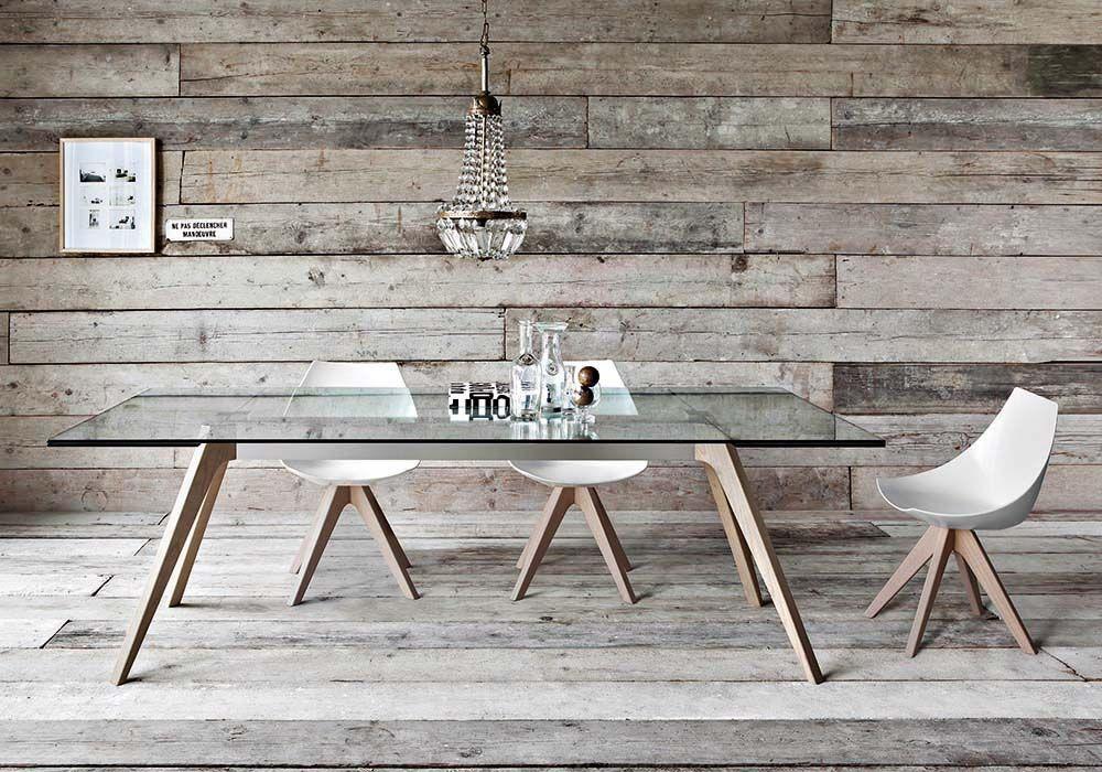tavolo Delta gambe legno piano vetro allungabile sedia Gamma Pianca ...