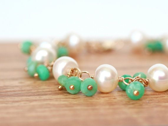 Bracelet White Freshwater Pearls and Green by WrennJewelry on Etsy, $45.00
