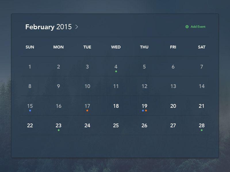 Dark Calendar UI