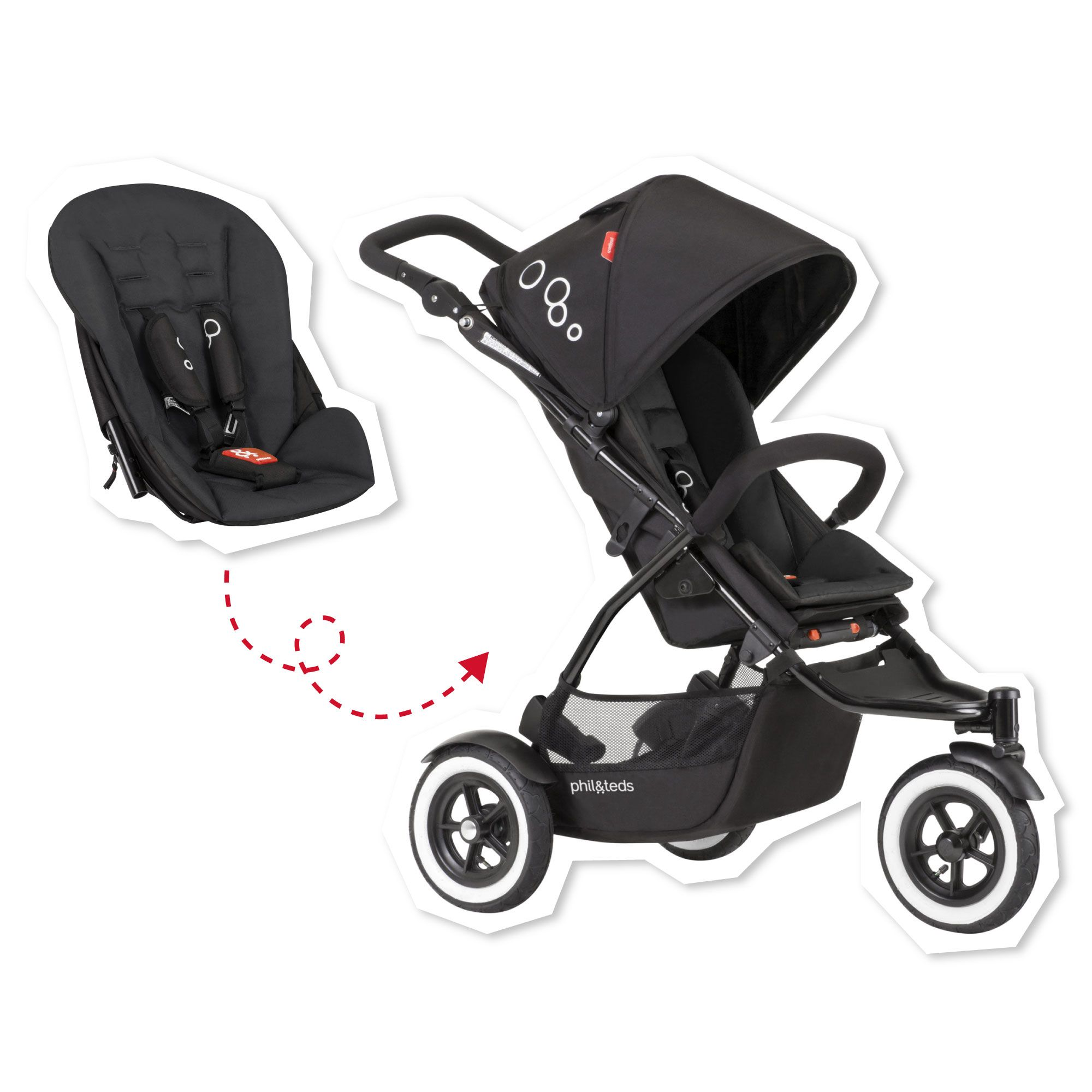 phil&teds DOT stroller. A compact stroller for one or two