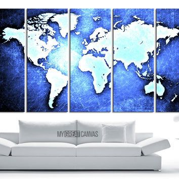 Large Wall Art Canvas WORLD MAP On Metal Iron Background Print - How to hang a large map