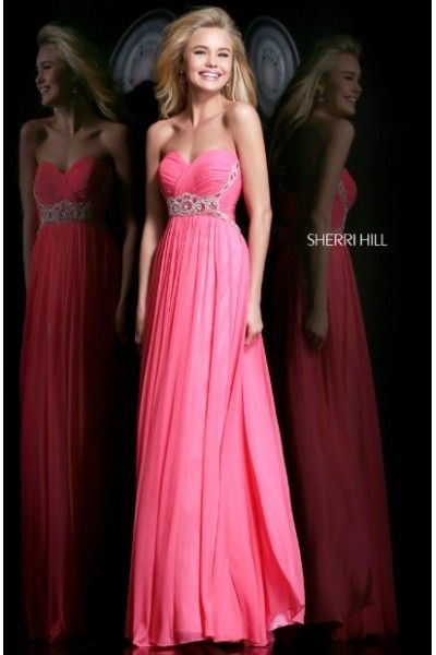 Chiffon Pink Ruched Strapless Sherri Hill 3904 Beaded Dress For Prom