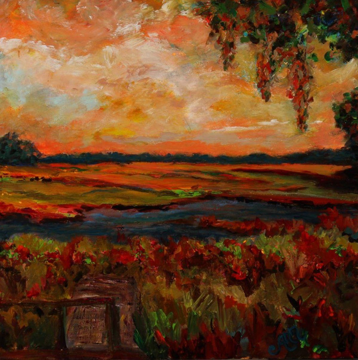 """Marsh landscape by Ann Lutz. """"Beautiful Beginnings,"""" SOLD."""