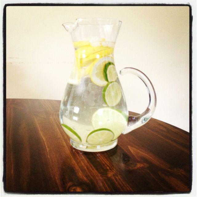 Infused lemon lime water... Slice lemons and limes add hot water let cool.... Very refreshing summer beverage... And it looks pretty!!!