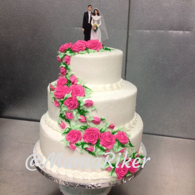 3 tier wedding cake with cascading roses three tier buttercream stacked wedding cake classic 10341