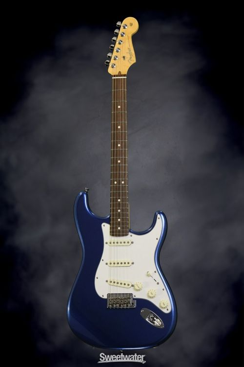 Fender American Standard Stratocaster - Mystic Blue, Rosewood | Sweetwater.com | Solidbody Electric Guitar with Alder Body, Maple Neck, Rosewood Fretboard, 3 x Custom Shop Single-coil Pickups, and Hard Case - Mystic Blue