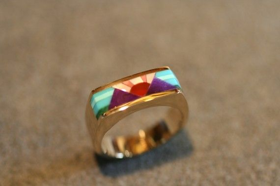 Purple mountain majesty inlay ring by BandScapes on Etsy