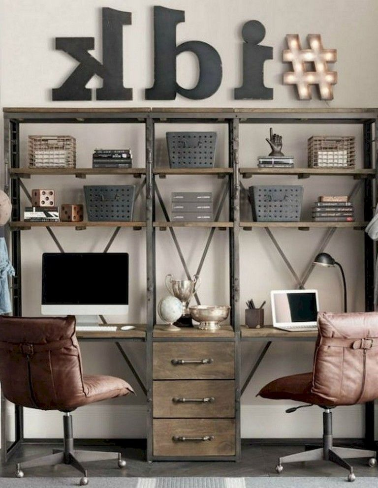 Industrial Study Room: 70+ Awesome Contemporary Home Office Ideas