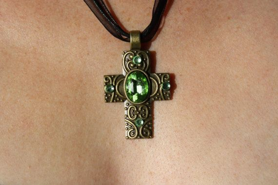 Cross emerald green FREE SHIPPING by Elysiumpendants on Etsy