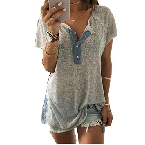 kaifongfu sales Women Loose Casual Button Blouse T Shirt Tank Tops XXXL Gray -- Find out more about the great product at the image link.Note:It is affiliate link to Amazon.