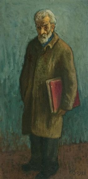 Bearded Man with a Book by Moses Soyer (1899-1974), American (mutualart)