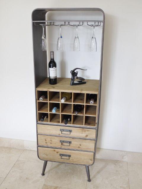 Industrial Tall Wood Metal Retro Drinks Cabinet Bar Storage Wine Bottle Storage Industrial Wine Racks Wine Cabinets