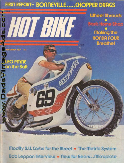 1971 Hot Bike Magazine Leo Payne On The Salt Hot Bikes Bike