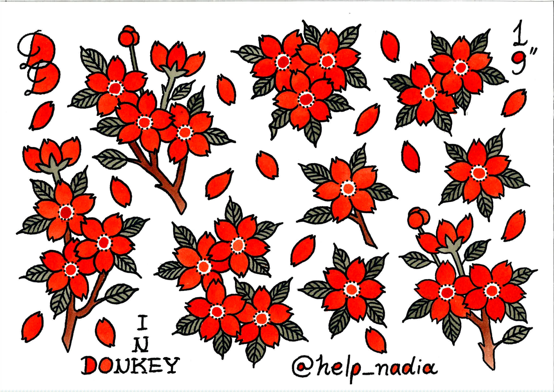 Sakura Flower Cherry Blossom Tattoo Flash Drawing Design Cherry Blossom Drawing Blossom Tattoo Sakura Tattoo