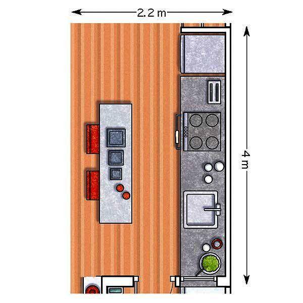 12 cocinas con barra y sus planos pinterest - Distribucion cocina cuadrada ...