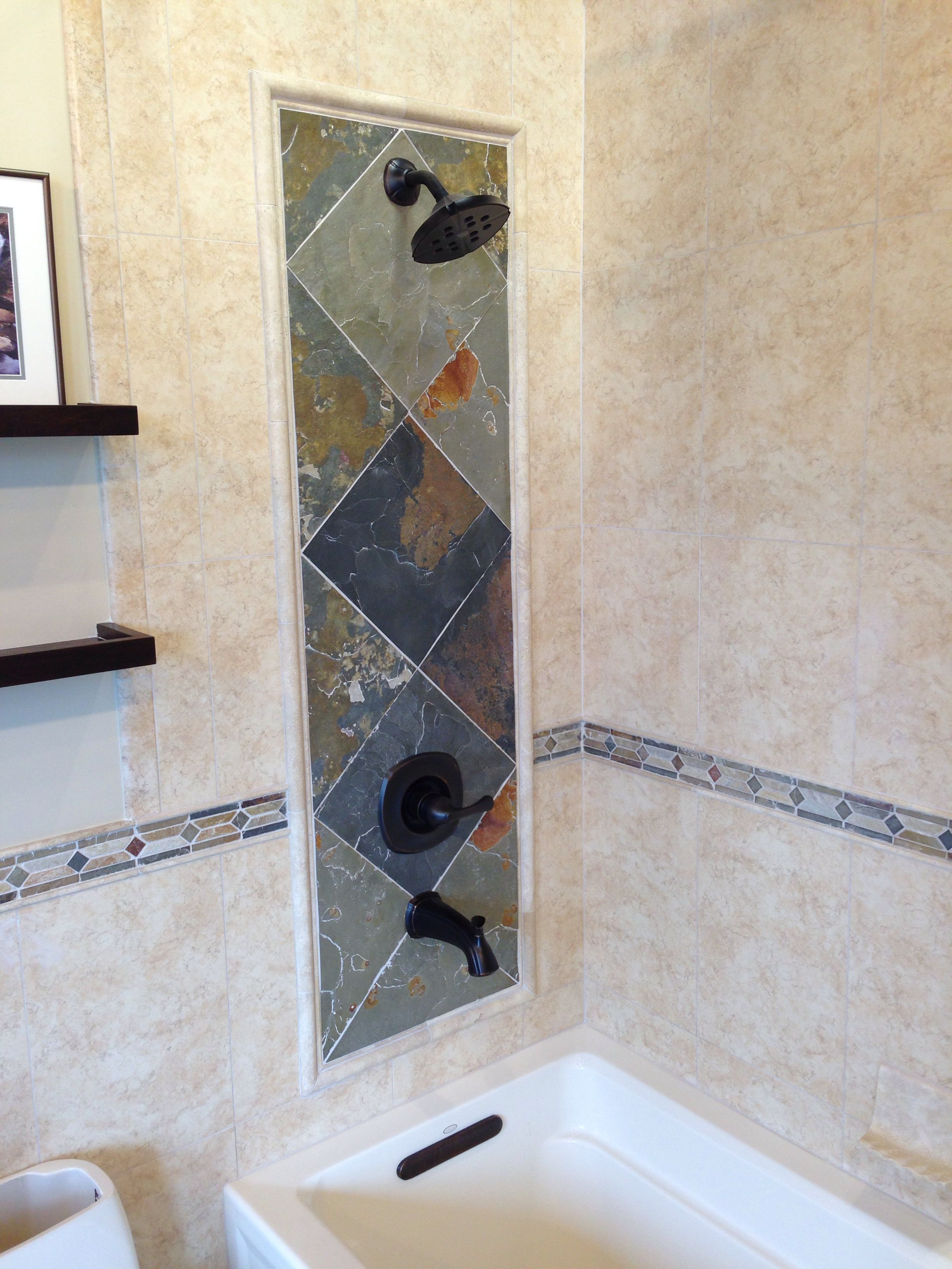 Slate accent frame in the shower. #thetileshop | Bathroom ...